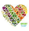 vegetables and fruits color detox dieting vector image vector image