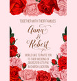 wedding invitation card with rose flower border vector image vector image
