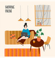woman with laptop at home vector image