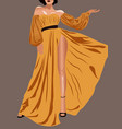 young brunette with short hair yellow dress and vector image vector image