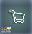 Shopping cart icon symbol on the blue-green vector image