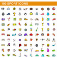 100 sport icons set cartoon style vector image vector image
