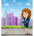 A businesswoman with a formal attire standing at vector image