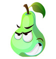 Angry pear cartoon face on white background
