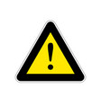 attention bright yellow warning sign on white vector image vector image