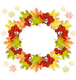 autumn leaves wreath decor seasonal card vector image vector image