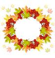 autumn leaves wreath decor seasonal card vector image vector image
