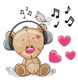 Bear with headphones vector image vector image