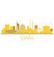 berlin germany city skyline golden silhouette vector image