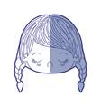 blue shading silhouette of kawaii head little girl vector image vector image