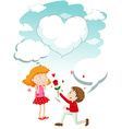 Boy giving rose to girl vector image