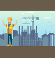 builder on construction site flat concept vector image vector image
