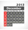 Calendar 2013 December vector image vector image