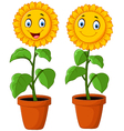 Cartoon happy sunflower vector image