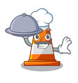 chef with food the traffic cone with character vector image