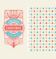 christmas vintage greeting card with wallpaper vector image vector image