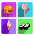 colorful fast food icon set on bright background vector image vector image