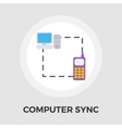 Computer sync single flat icon vector image vector image