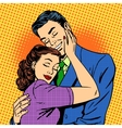 Couple in love hugging husband wife retro vector image vector image