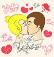couple in love kiss vector image vector image