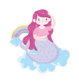cute little mermaid rainbows clouds isolated icon vector image vector image