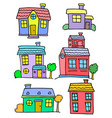 doodle of house colorful set collection vector image vector image
