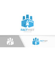factory and rocket logo combination vector image vector image