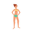 flat cute woman in swimsuit stands smiling vector image