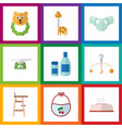 flat icon kid set of pinafore tissue mobile and vector image vector image