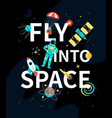 fly into space - colorful flat design style vector image vector image