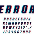 font in glitch style vector image vector image