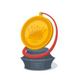 golden trophy cup of round shape vector image vector image
