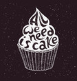 hand drawn cupcake with text vector image vector image