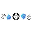hand sanitizer label with shield and water drop vector image vector image