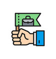 hand with flag business leader leadership flat vector image