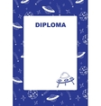 Kids diploma with space background vector image vector image