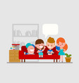 kids doing homework with friends vector image vector image