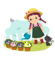little girl watering plant vector image vector image