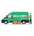 loader unloads goods from van vector image