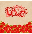 Love hand lettering Valentines day card with red vector image vector image
