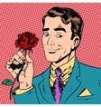 man flower Dating love meeting art pop retro vector image vector image