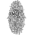 mgf is a fun sports car text background word vector image vector image