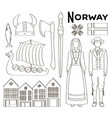 norway icon set vector image vector image