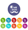 old gentlemen icons set color vector image