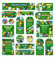 posters for football or soccer game vector image vector image