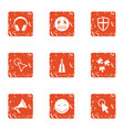 raise spirit icons set grunge style vector image vector image