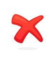 red cross check mark for indicate wrong choice vector image