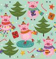 seamless pattern with christmas pig vector image vector image