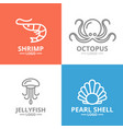 set jellyfish and seafood shrimp shell vector image vector image