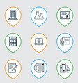 set of 9 school icons includes education tools vector image vector image